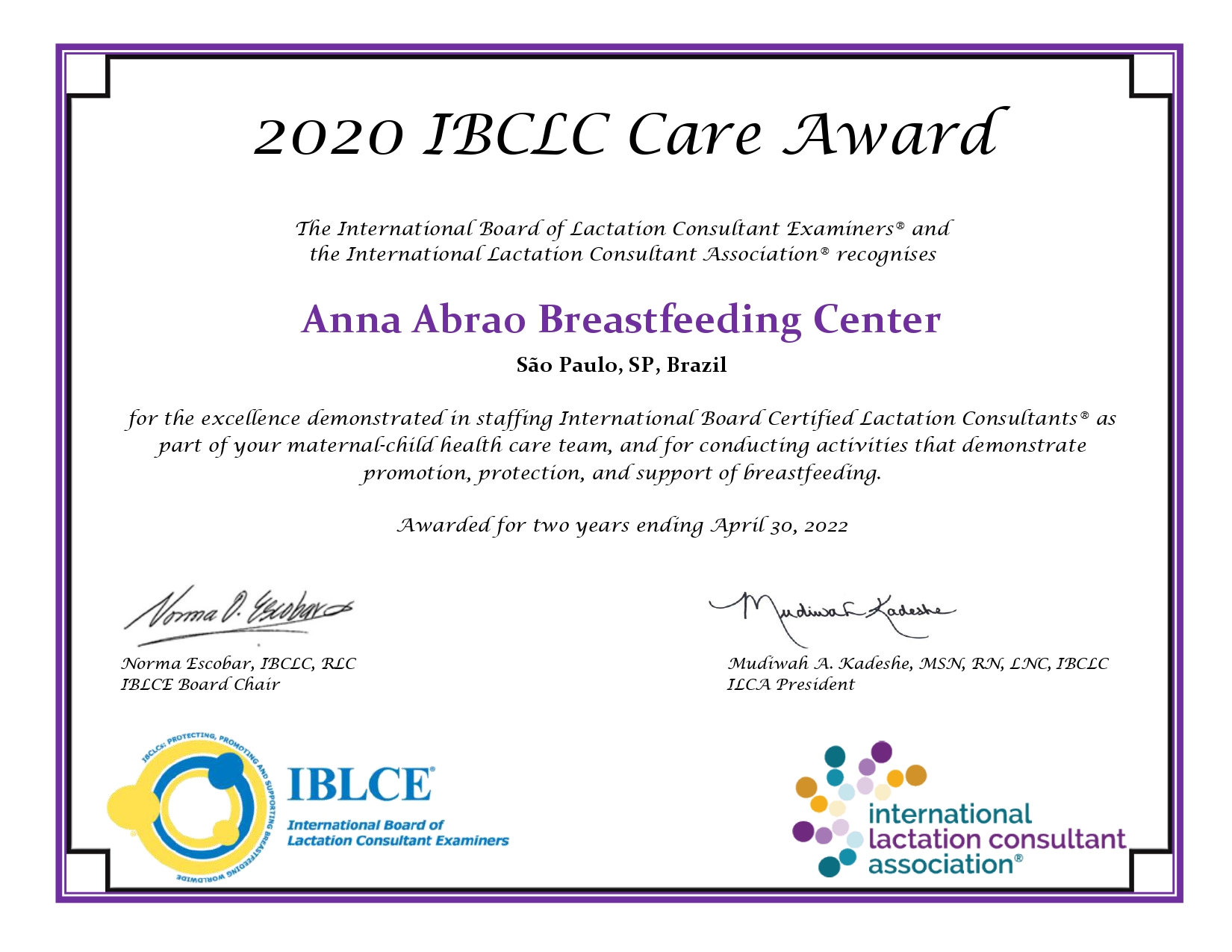 Anna Abrao Breastfeeding Center certificate page 0001