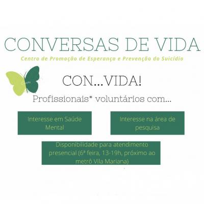 Conversas de vida seleciona voluntários