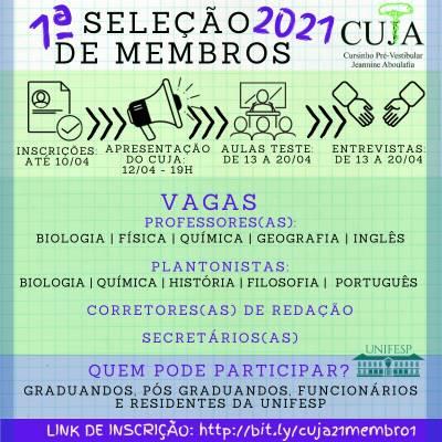 1° Processo Seletivo de Membros 2021doCursinho Pré-vestibular Jeannine Aboulafia (CUJA)